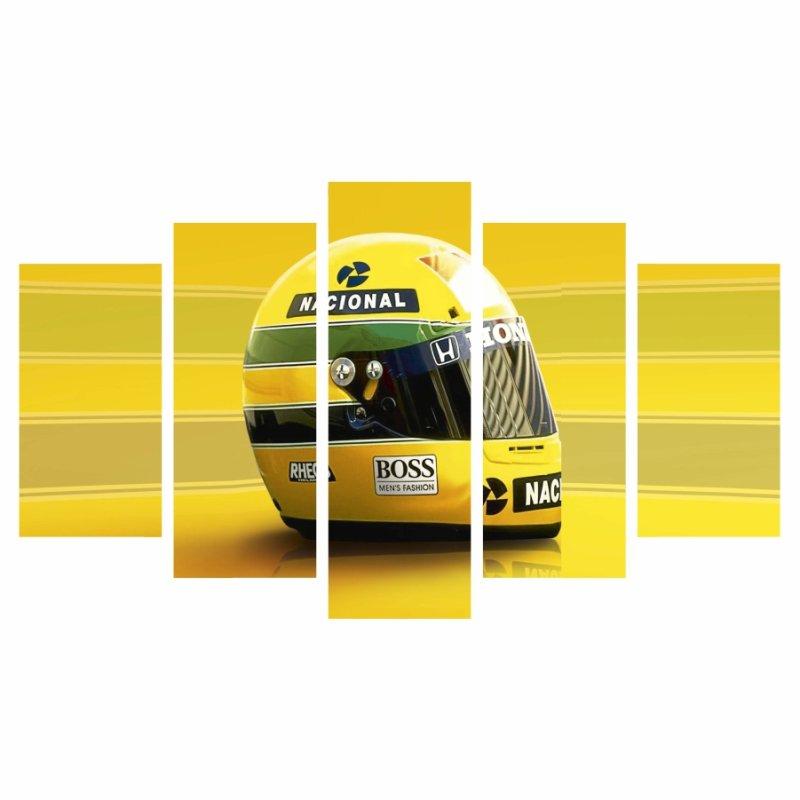 6ff3287598 Quadro Decorativo Capacete Honda Ayrton Senna F1 - MadeiraMadeira