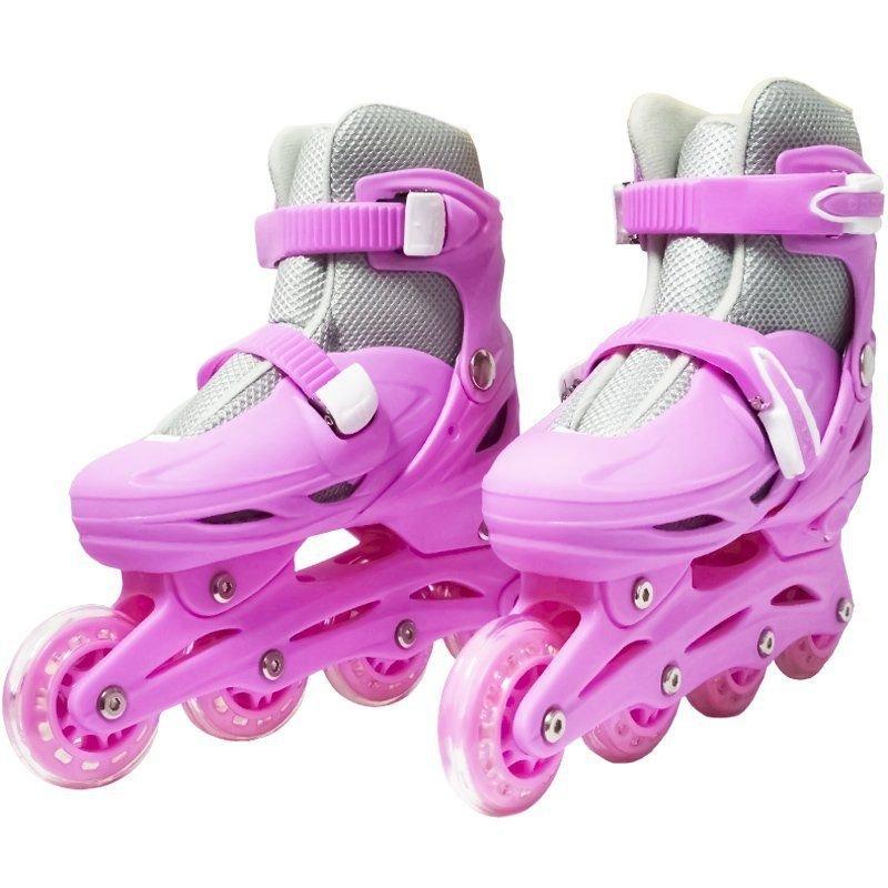 7ebb79096 Patins Roller In Line 4 Rodas Infantil Feminino Rosa Tamanho 37 38 39 40  Importway BW
