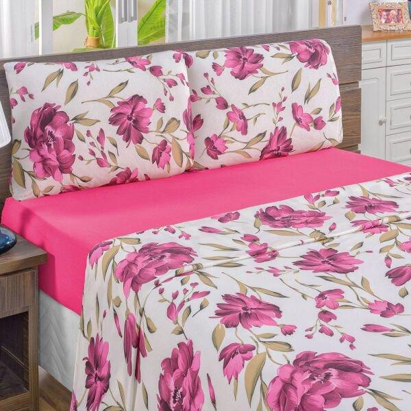 017f36cbf Jogo de Cama Solteiro Quality Estampado Malha 100% Algodão 3 Peças - Pink