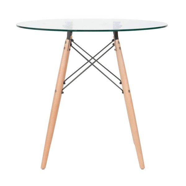 ba860205a Mesa de jantar redonda Eames Eiffel - Wood - Tampo de vidro - 80 cm ...