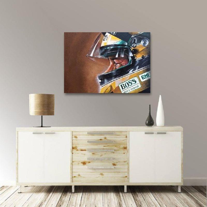 0020100127 Quadro Ayrton Senna em tela decor casa sala moderno - MadeiraMadeira