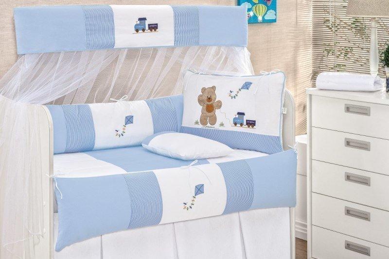 37c7dd2215 Kit Berço Urso Baby Menino 8 Peças Cor Azul - MadeiraMadeira