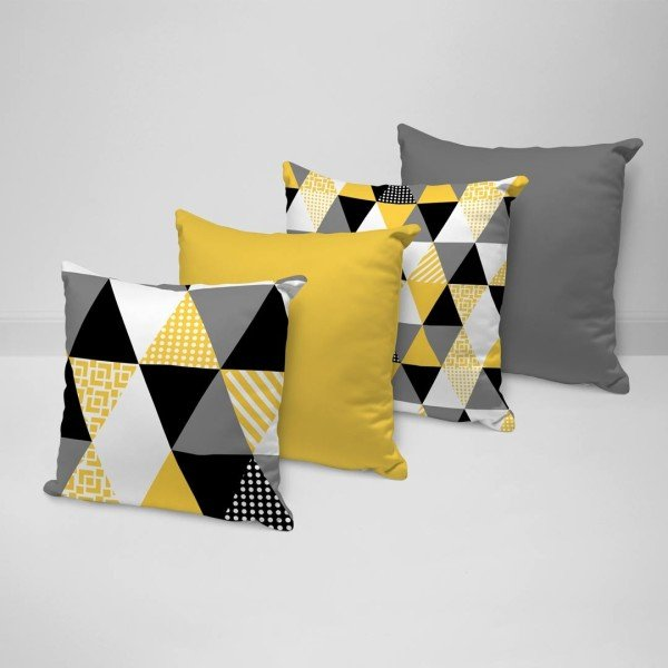 588d20c8a3 Kit 4 Almofadas Decorativas Multi Triangulos Amarelo 35x35cm