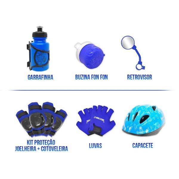 32317d93a Bicicleta Infantil Aro 20 Vermelha Kit E Roda Aero Azul C  Capacete e Kit  Proteção