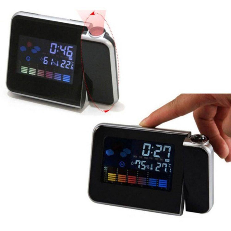 37abb48a348 Relogio Despertador Com Projetor Horas Higrômetro E Termômetro Mede  Temperatura e Luz Led