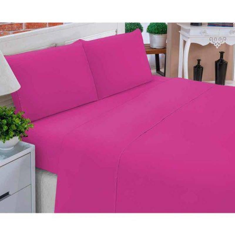 dc03ee13b1 Jogo De Lençol Casal Padrão Liso Pati 04 Peças Tecido Microfibra - Pink