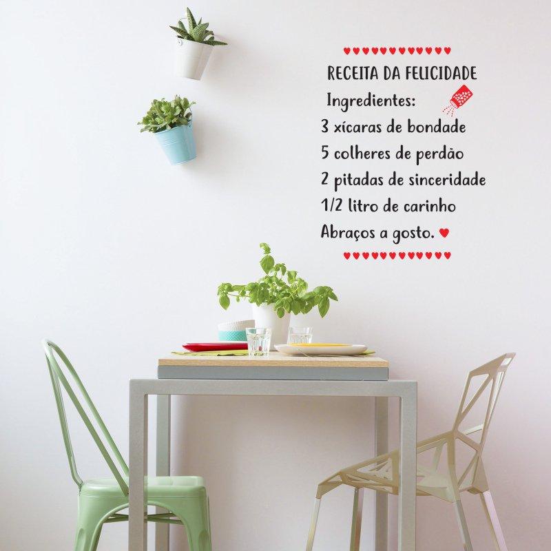 681812c53 Adesivo Parede Cozinha Receita do Amor Preto - MadeiraMadeira