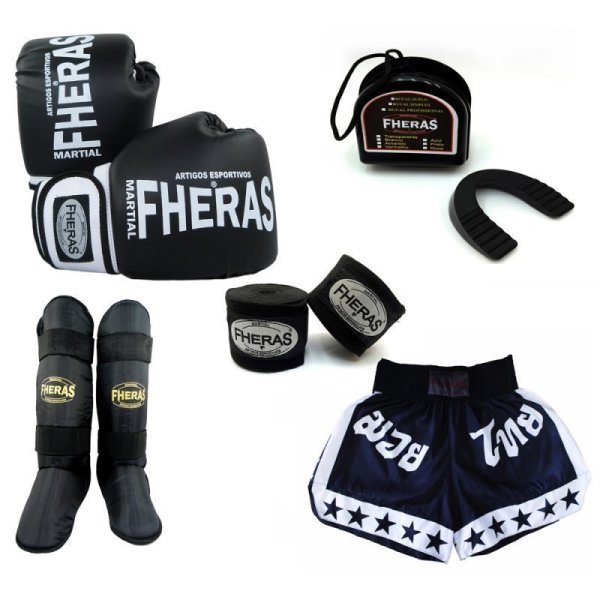 516567cc5 Kit Boxe -Luva Bandagem Bucal Caneleira Shorts - Preto Branco - ORION 12 OZ