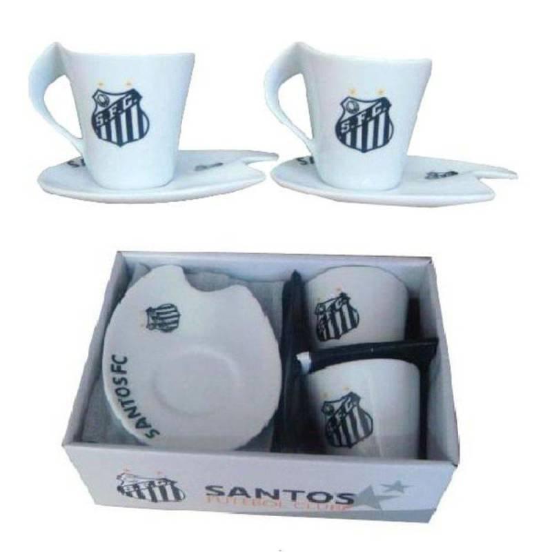 d858f9704a Jogo Xícara Café 90ml 4 peças - Santos FC - MadeiraMadeira