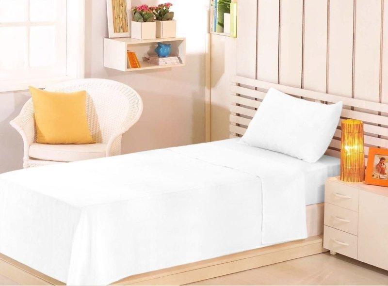 18a97dc0b9 Lençol Solteiro Branco sem Elástico Premium Linea 100% Algodão