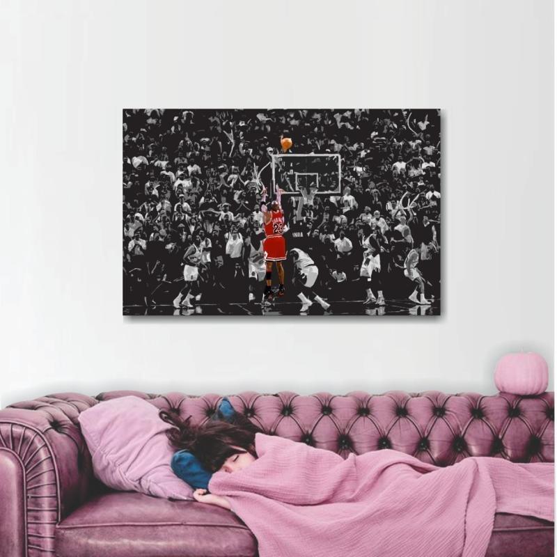 8d2b6caef04 Quadro Michael Jordan decorativo Para Quarto Sala em Tecido ...