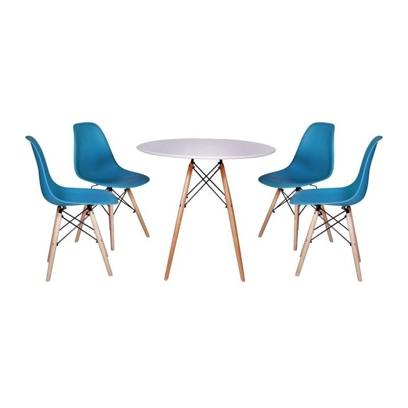 0633d8e8b kit Mesa Jantar Eiffel 90cm Branca + 4 Cadeiras Charles Eames - T..
