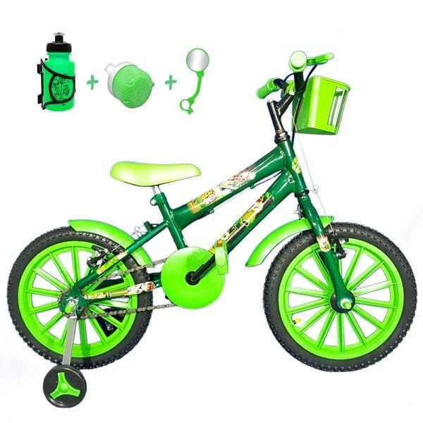 d39245617 Bicicleta Infantil Aro 16 Verde Escuro Kit Verde C  Acessórios