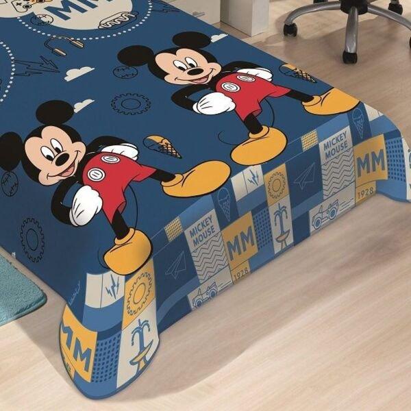 45c08398ad Manta Microfibra Soft Solteiro Disney Mickey Mouse Azul Jolitex ...