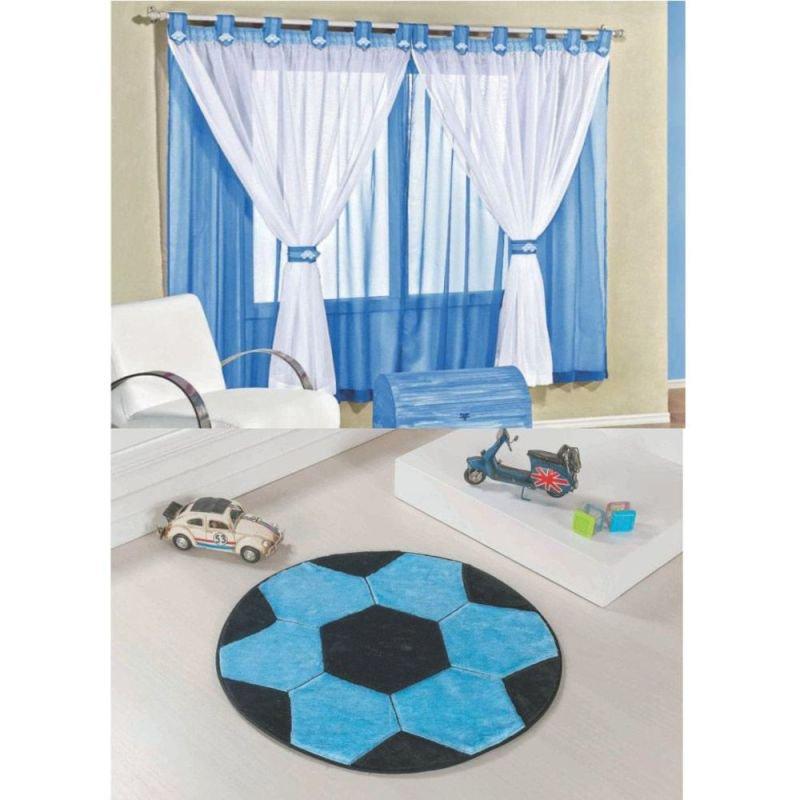 851a8cdbc4 Kit Decoração Bola Futebol p  Quarto Infantil   Cortina Juvenil 2 Metros +  Tapete Pelúcia - Azul