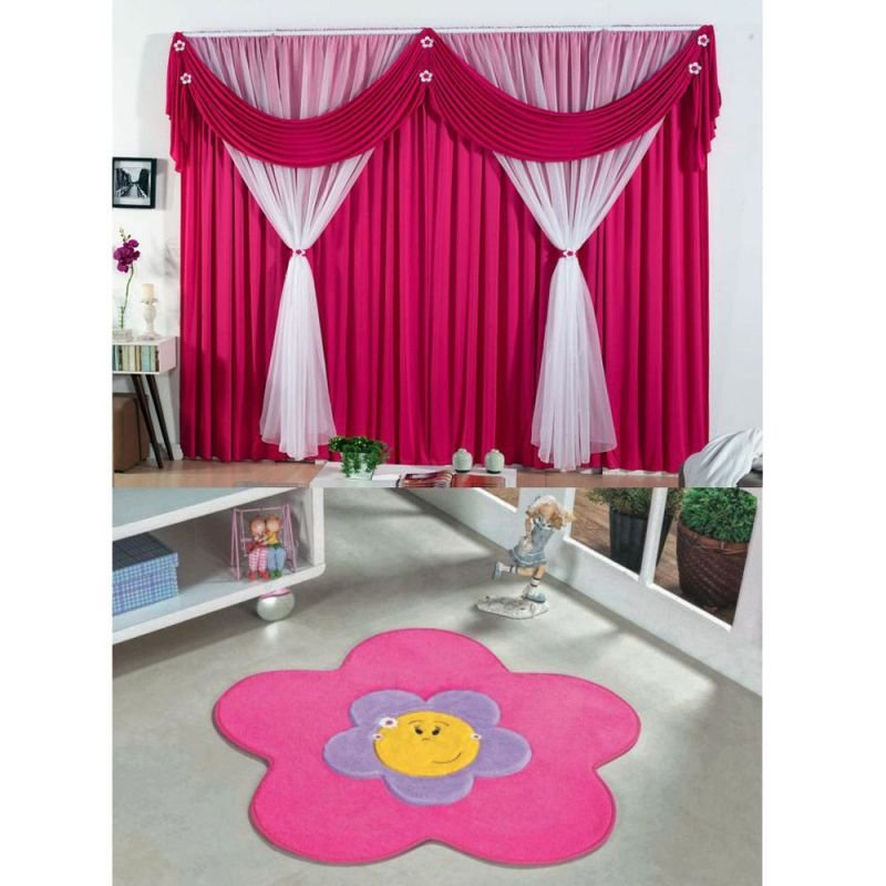 9d1945b92 Kit Decoração p  Quarto Infantil   Cortina Jéssica 2 Metros + Tapete  Pelúcia Menina Flor - Pink