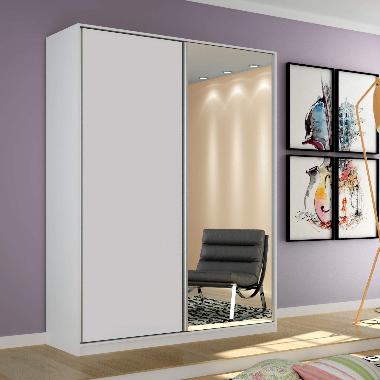 a36f059ce Guarda Roupa Solteiro com Espelho 2 Portas de Correr Terrazo Siena Móveis  Branco