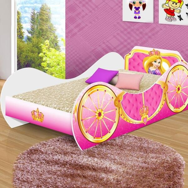 5e3a6229ce Cama Infantil Com Colchão Carruagem de Princesa Adesivada Branca ...