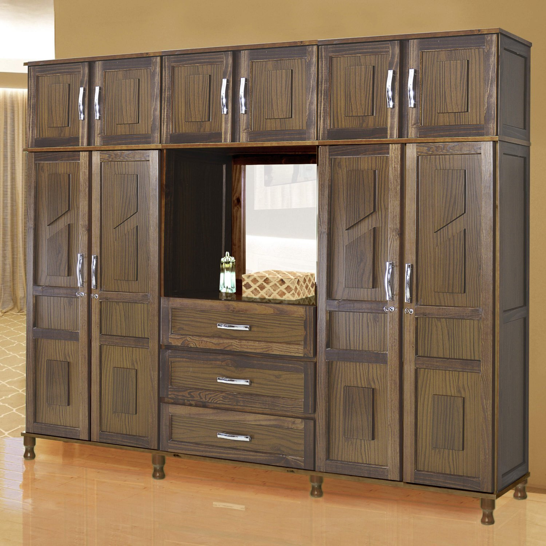 4c166dee3 Guarda Roupa Casal com Espelho 10 Portas 3 Gavetas Capelão Rodmóveis Imbuia  Natural