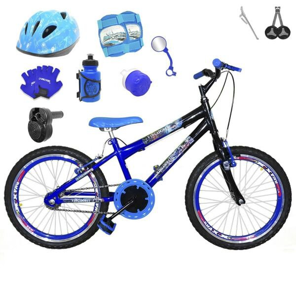 6e05f7138 Bicicleta Infantil Aro 20 Preta Kit E Roda Aero Azul C  Capacete ...