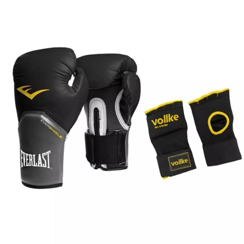 19f662249 Kit Luva Muay Thai Everlast Elite Preta 08OZ e Band Rap Gel