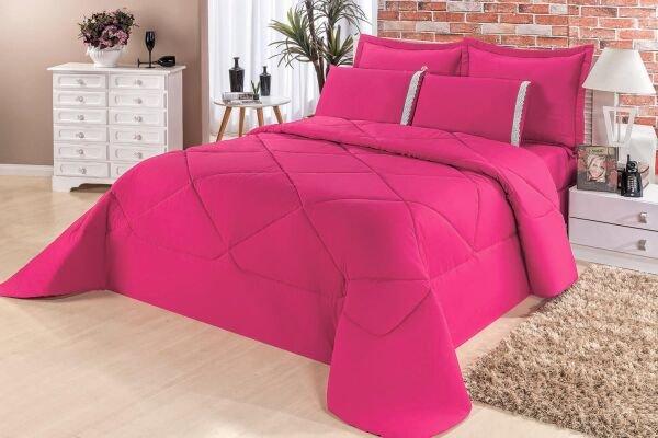 2491667d0f Kit Edredom + Lençol Aconchego Dupla Face Solteiro 4 Peças - Pink - Finos  Enxovais