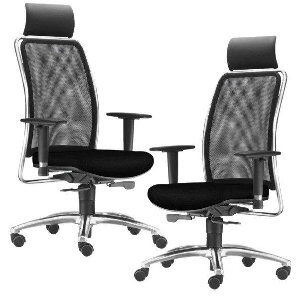 11b853b1d Kit 02 Cadeiras de Escritório Giratória Presidente Executiva Song ...