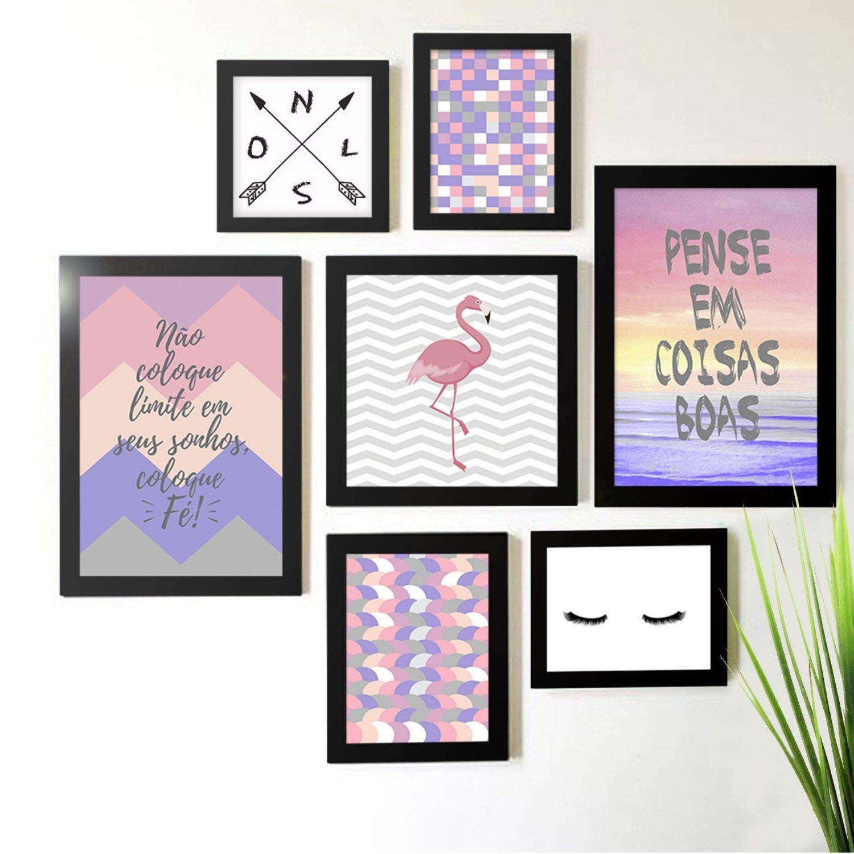 130a674d3 Kit de Quadros Decorativos 7 Peças Flamingo Abstrato Rosa Frases Los Quadros  Preto