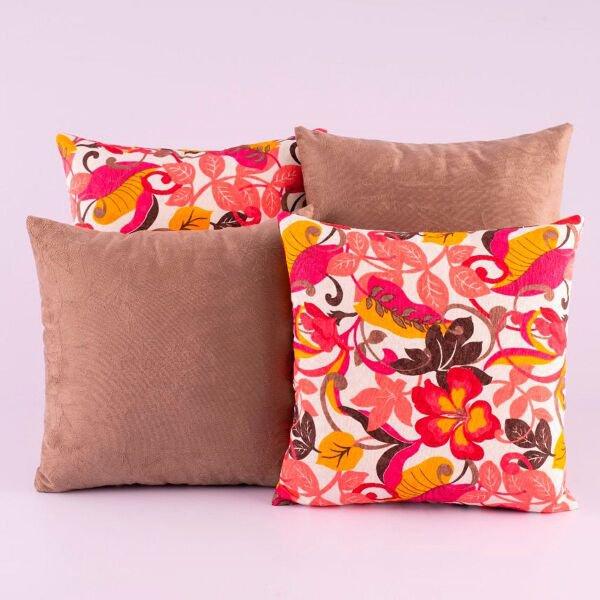 a6b963a370687d Kit c/ 4 Almofadas Cheias Decorativas Caqui Floral 04 Peças c/ Refil ...