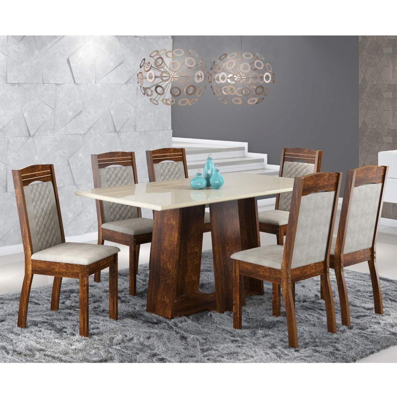 aa8af64c0 Conjunto Sala de Jantar Mesa Isis 6 Cadeiras Alice Siena Móveis Rústico