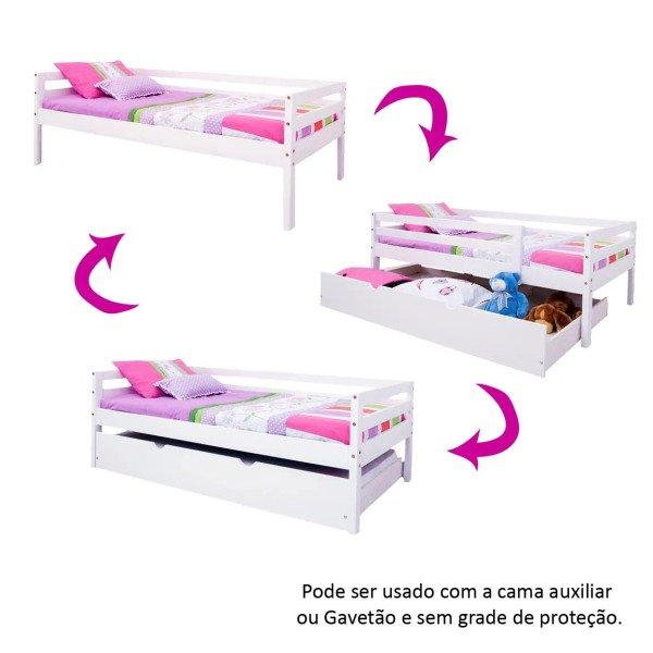 46b188abcd Cama Infantil c  Grade de Proteção e Gavetão ou Cama Auxiliar - Meninas -  Casatema Branco