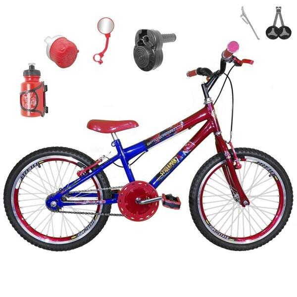 11b8be7b0 Bicicleta Infantil Aro 20 Azul Vermelha Kit e Roda Aero Vermelho C   Acelerador Sonoro