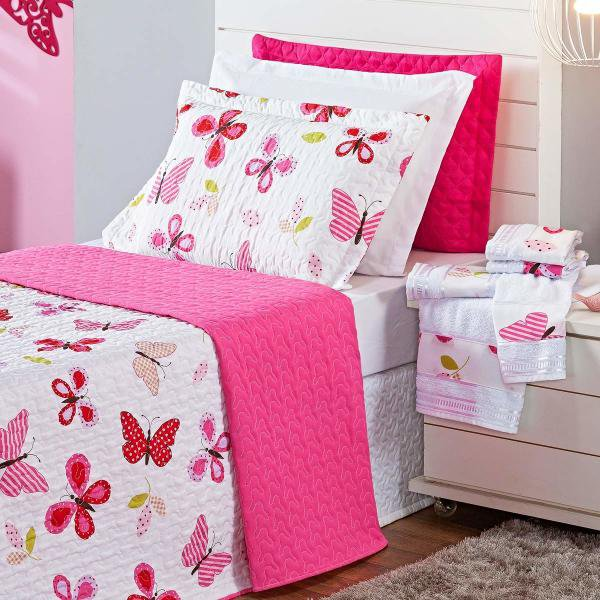 e1518b9bdc Kit Combo Cobre Leito + Jogo de Banho Butterfly Pink Solteiro 07 Peças  Dupla Face 150 Fios