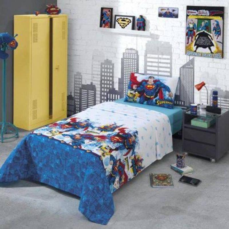 99d1b5bed3 Jogo de Cama Solteiro 100% Algodão 2 lençóis e uma fronha - Sa Azul ...