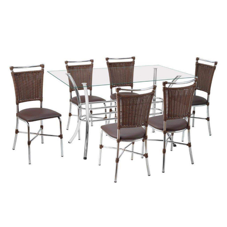 5ca4d3c44 Conjunto Sala de Jantar Mesa Tampo de Vidro Alice 6 Cadeiras Primavera  Cromado