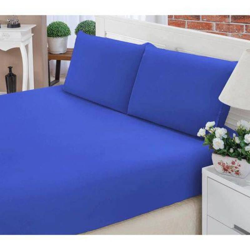 c73fa26441 Jogo de Lençol Casal Queen Liso Pati 03 Peças Tecido Microfibra - Azul  Royal Azul Royal