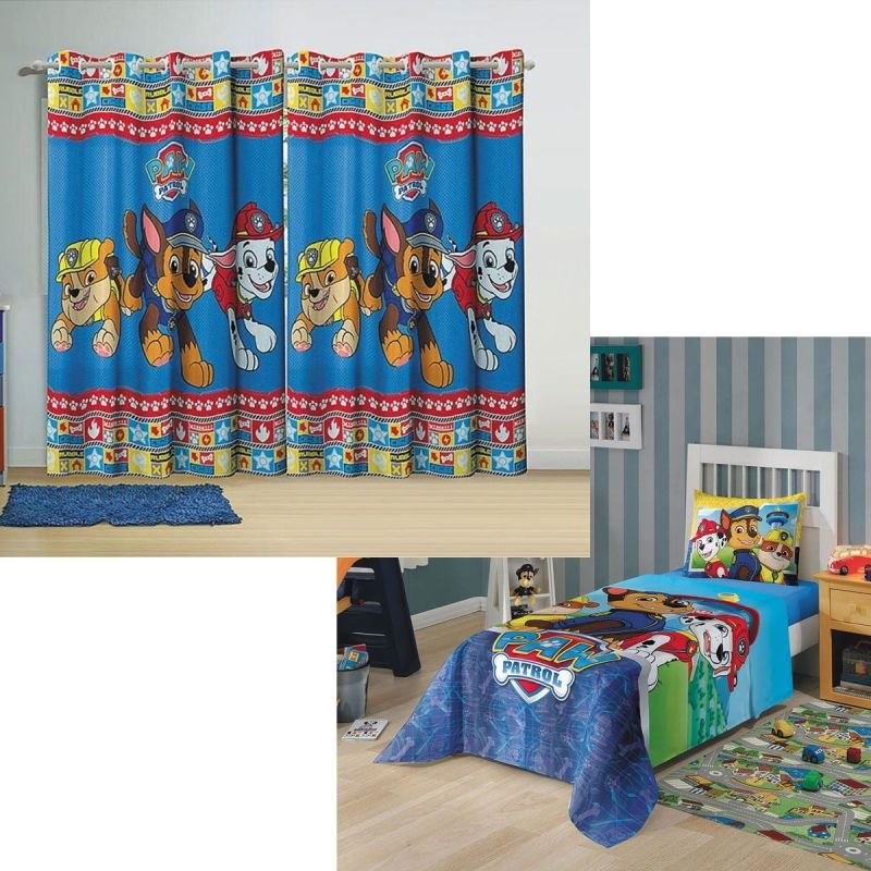 ff7433b68 Kit Infantil Azul Patrulha Canina Jogo De Cama + Cortina Lepper ...