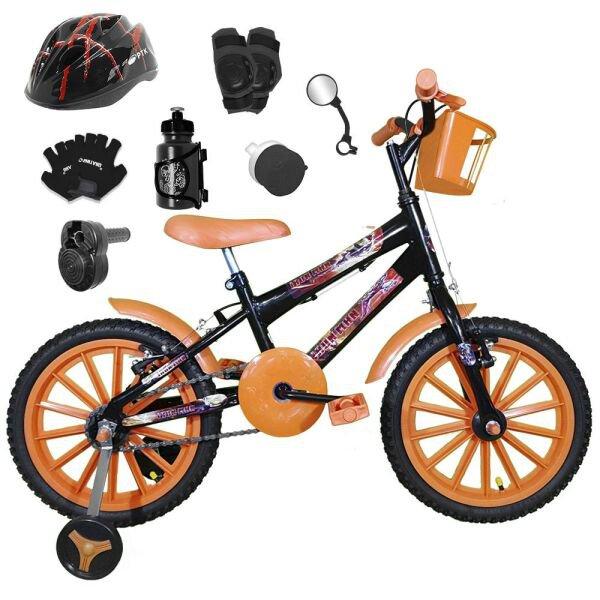 e4666b859 Bicicleta Infantil Aro 16 Preta Kit Laranja C  Capacete