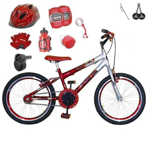 3e7728a2b Bicicleta Infantil Aro 20 Vermelha Kit E Roda Aero Azul C  Capacete ...