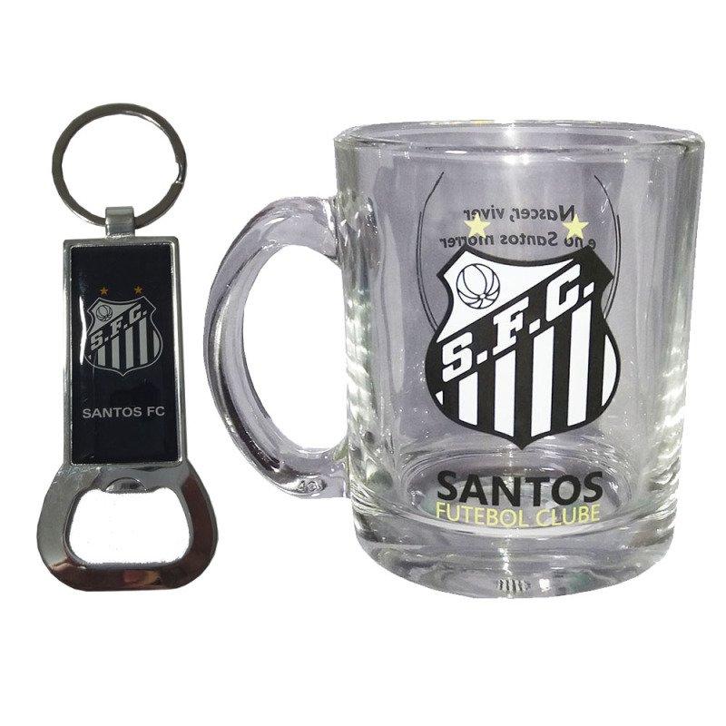 Kit Caneca de vidro Oficial do Santos com Chaveiro abridor ... 05126d410f