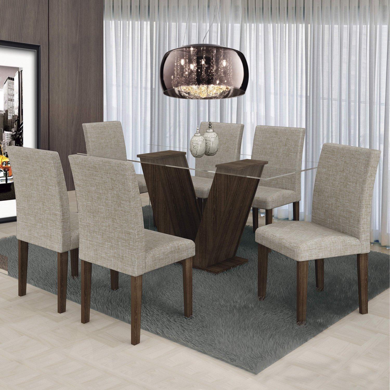 a952434d2 Conjunto Sala de Jantar Mesa 6 Cadeiras Classic 160cm Cel Móveis Malbec/  Linho 80 - MadeiraMadeira
