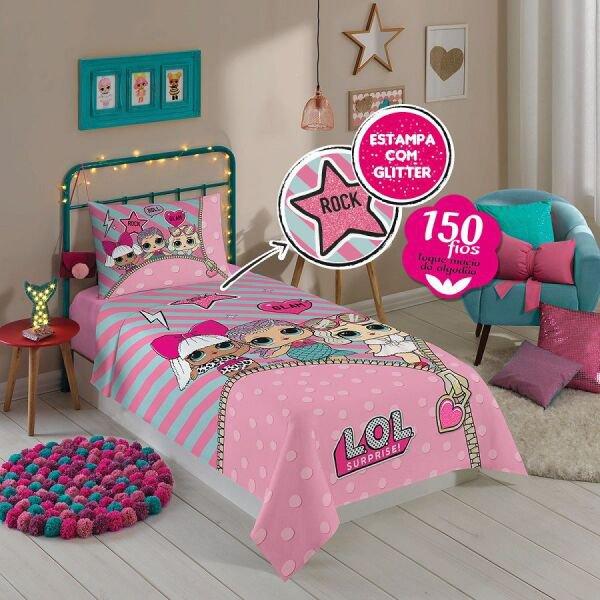 c55d80e7b jogo de cama lol surprise com glitter 3 peças lepper