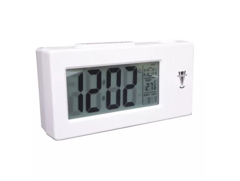9e3facd5279 Relógio Projetor Digital Despertador Calendario Temperatura ...