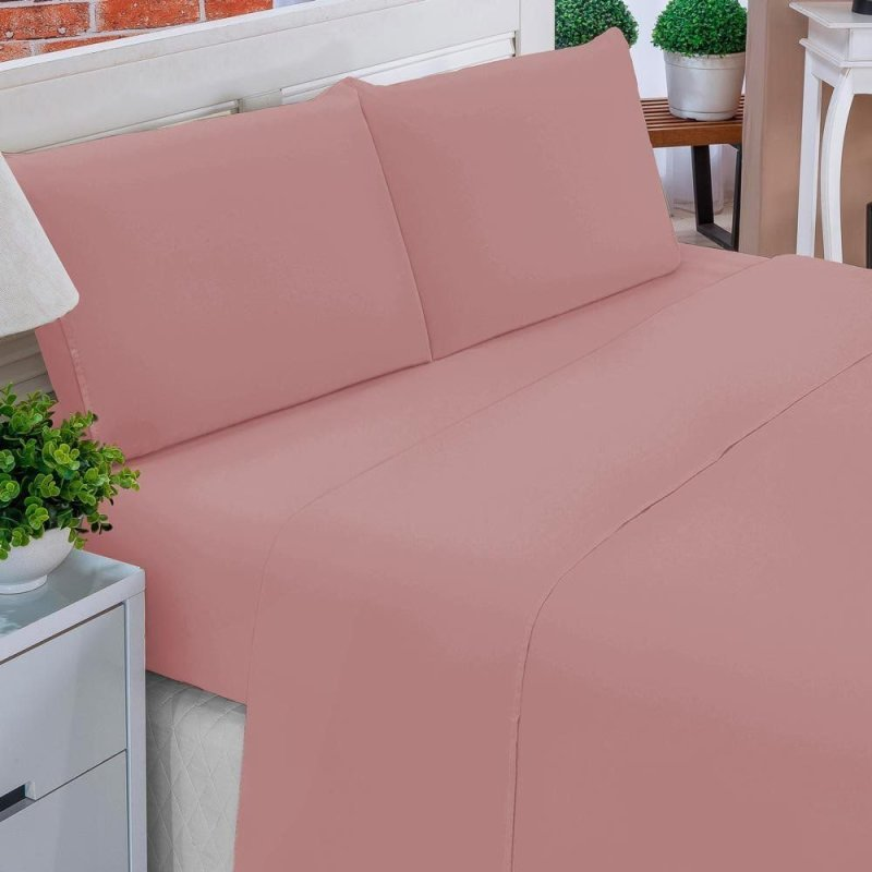 f8b94db16d Jogo de Lençol Casal Queen Liso Pati 04 Peças Tecido Microfibra - Rosê