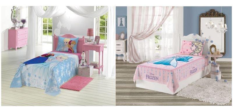5f42dc417a Kit 02 Jogo de Cama Solteiro Estampado Frozen 02 Peças Azul e Rosa Lepper