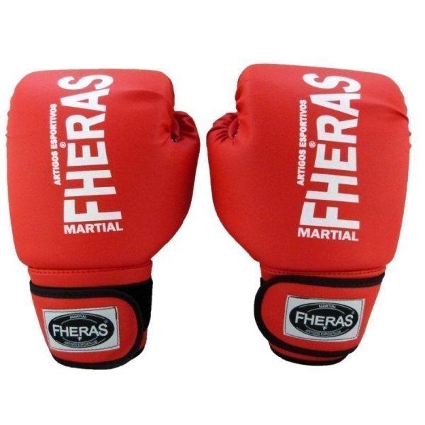 f96ad2aad 17%. OFF. Kit Boxe Muay Thai Tradicional - Luva Bandagem Bucal Caneleira - 10  OZ Vermelho