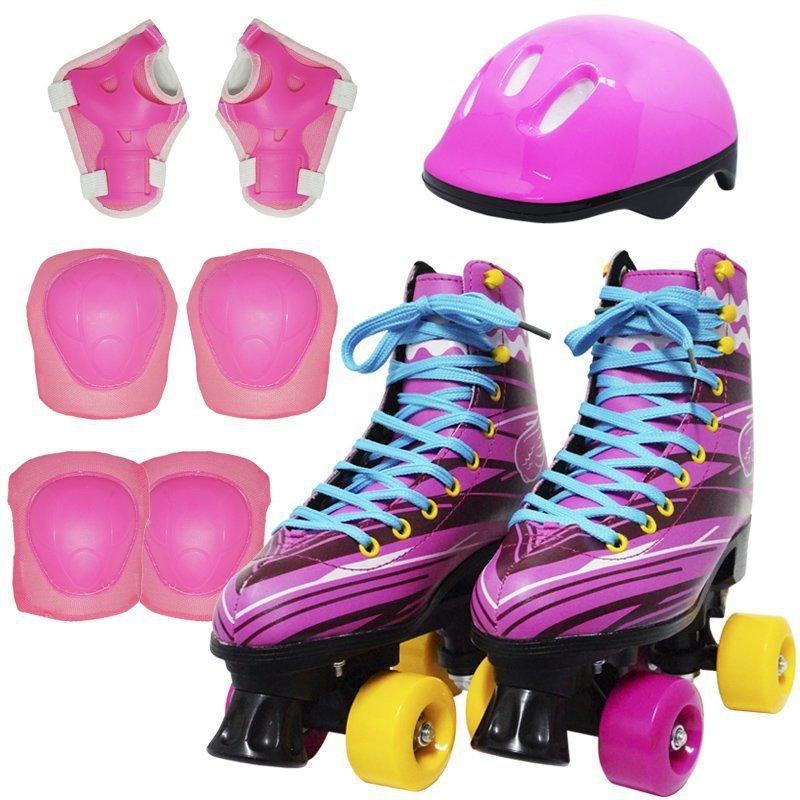 cb55181a7 Kit Patins Clássico Quad 4 Rodas Roller + Acessórios Feminino Rosa Tam 28  Importway BW-021-R