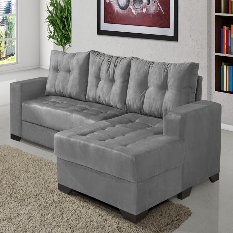 Sof 3 lugares com chaise imp rio estofados bia cinza em for Sofa 03 lugares com chaise