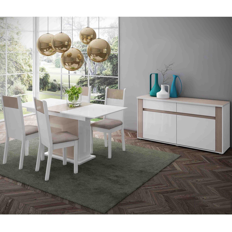 Conjunto Sala De Jantar Elegance 4 Cadeiras Madesa Com Buffet Branco